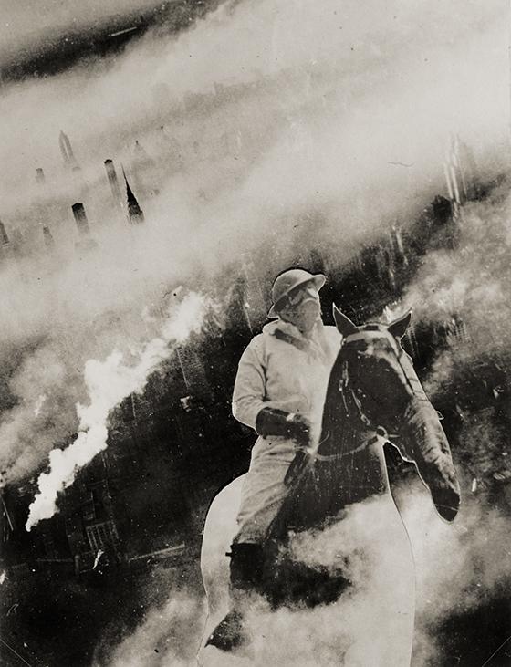 """Janusz Maria Brzeski, """"VII. sielanka XX. wieku""""(Idilio siglo XX. nº 7), de la serie  """"Narodziny robota"""" (Ha nacido un robot), 1933, fotomontaje."""