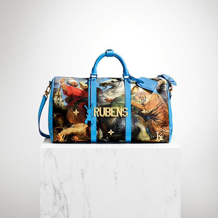 """Bolso diseñado por Jeff Koons para Louis Vuitton, con """"La caza del tigre, el león y el leopardo"""" de Rubens."""