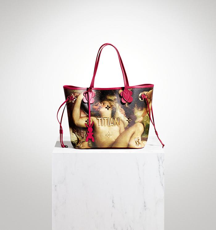 """Bolso diseñado por Jeff Koons para Louis Vuitton, con """"Marte, Venus y Cupido"""" de Tiziano."""